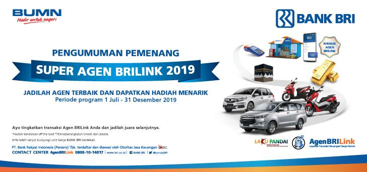 Promo Bri Pengumuman Pemenang Super Agen Brilink 2019
