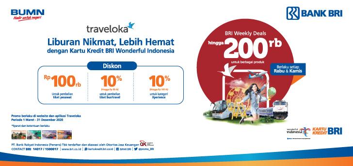 Promo Bri Promo Kartu Kredit Bri Wonderful Indonesia Di Traveloka