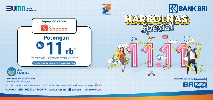 Promo Bri Harbolnas 1111 Top Up Brizzi Di Shopee